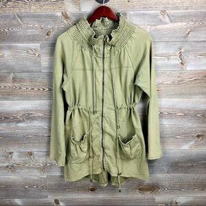Anthropologie Iris Navy Anorak Zip Utility Jacket
